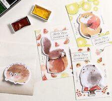Lot 4 Kawaii Cute Fun Hedgehog Squirrel Animal Memo Pad Stationery Sticky Notes