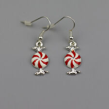 1 Pair New Cute Christmas Windmill Red Enamel White Marshmallows Dangle Earrings