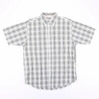 Vintage WRANGLER White Casual Checked Short Sleeve Shirt Men's Size Medium