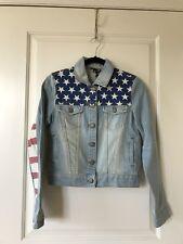 Topshop American Flag Light Wash Crop Denim Jacket, Size UK10/US6