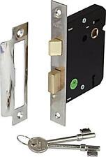 NEW 2 LEVER MORTICE INTERNAL SASH DOOR LOCK 2.5 INCH 63MM CHROME PLATE INDOOR