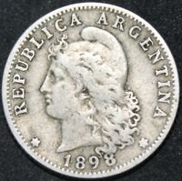 1898   Argentina 20 Centavos   Cupro-Nickel   Coins   KM Coins