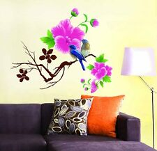 712 | Wall Stickers Living Room Design Blue Birds with Pink Flowers