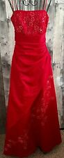 Jodi Kristopher Red Sequin Beaded Gown Dress Ruched Formal Pageant Bling 7
