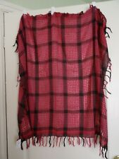 Cerise & black checked tartan polyester scarf with tassels