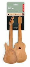 Kikkerland Set Of 2 Beech Wooden Rockin' Guitar Salad Serving Spoons Servers