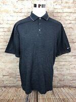 Nike Golf Dri Fit Blue Striped Mens Short Sleeve Polo Large