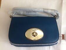 NWT COACH F52896 Pebble Leather Turnlock Clutch Crossbody Bag Purse Denim