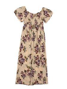 Xhilaration Stretch Bodice Maxi Dress Sz XXL Wide Collar Off Shoulder SS Peach