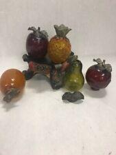 5 crackle glass fruit resin stand candle holder lot Vintage centerpiece