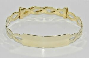 Solid 9ct Gold Expanding Baby ID Bangle -  NEW - Gift Boxed