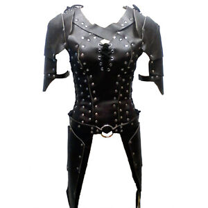 Woman leather armor Black leather armor Halloween Costume LARP Character costume