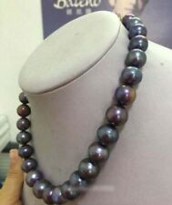 "Stunning 9-10mm round tahitian huge black red green pearl necklace 18"" 14k"