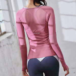 Running T Shirt Women Long Sleeve Tops Quick Dry Fitness Sports Yoga Tee SP140