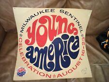 Vintage 1969 Milwaukee Sentinel Young America Celebration Poster, Retro, Hippie