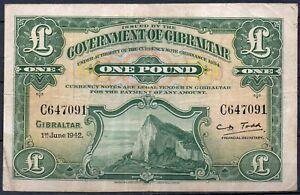 Gibraltar P-15 1942 1 Pounds VF Rare