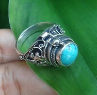 Size 8 (US) Turquoise Solid Silver, 925 Balinese Poison Design Ring 39169