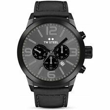 TW Steel Marc Coblen Mens Black Chronograph Quartz Leather Strap Watch TWMC18