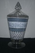 Vintage Patrician Covered Candy Dish Jeannette Glass Blue & White Roman Decals