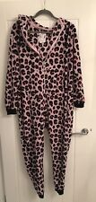 Lipsy Pink Animal Print One Piece Pjs Nightwear Lounge Wear Jump Suit Size L