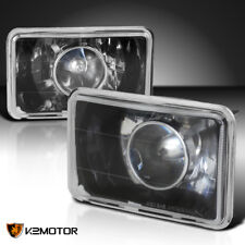 2PC Black 4X6 Square Diamond Cut Projector Headlights +H4 Bulbs Conversion Kit