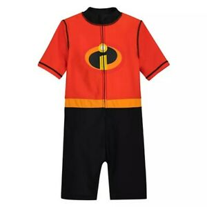 Disney Store Incredibles Wetsuit for Kids Swimsuit Rashguard Boy Summer Swimwear
