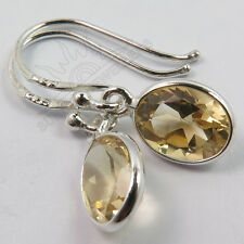Genuine Fire CITRINE Gemstones Cute Little Earrings 925 Solid Sterling Silver