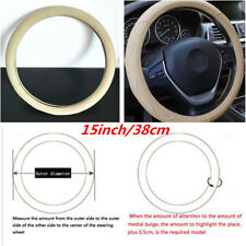 38cm/15inch Beige Dynamic PU Leather Embossed Car Steering Wheel Cover Universal