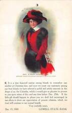 LOWELL, MI ~ STATE BANK ADV PC, ARTIST IMAGE OF WOMAN, used 1909
