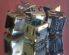 5pcs RJ45 Shielded Modular plugPCB Mount Side Entry 2 LEDs [ TYCO 2-406549-5 ]