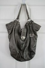 Marc Ecko RED Pewter Reptile Print Shopper Tote Handbag Purse Bag 16.5 x 15