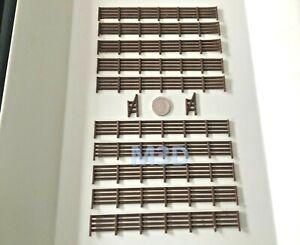Scenery 1:76 OO gauge FENCING & 2 GATES -10 PACK- UK Model Railway - Brown 1.5 m