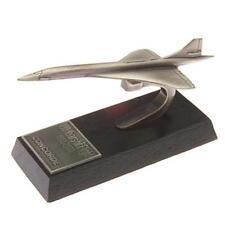 Concorde Desk Model - Solid Pewter - Wooden Base