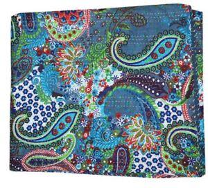 Indien Cotton Kantha Quilt Bird Handmade Vintage Bedspreads Blanket Twin