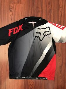 Fox Racing Mens Black Red Biking Cycling Shirt Short Sleeve Jersey Size XL