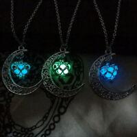 Leuchtende Halskette Aushöhlen Leuchten Im Dunkeln Mond Herz Anhänger
