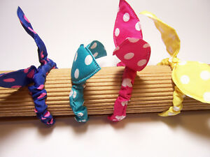 4 Assorted Elastic Bow Hairbands Cute Polka Dot Ponytail Holders Kids & Girls