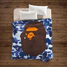 Japanese A Bathing Ape Bape Shark Blanket Supreme Soft Camo Coverlet Bed Cover