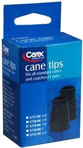 "Carex Health Brands Fga71900 7/8"" Black Cane Tips 2 Count"