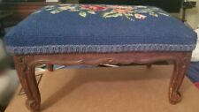 Antique Blue Carved Needlepoint Upholstery Footstool French Country