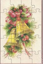 Mail A Puzzle Postcard Vtg Christmas Bells Holiday Greeting Sealed Never Posted
