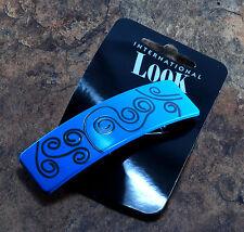 International Look Hair Barrette NOC Blue Swirly Design Hair Accessory
