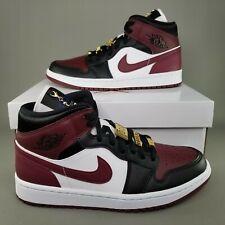 Nike Air Jordan 1 Mid SE Gold Pendants Shoes Womens Size 9 Athletic White Black