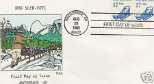 VAN NATTA DOG SLED COIL HAND PAINTED HP FIRST DAY COVER FDC