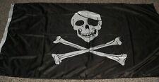Black Jolly Roger Pirate Flag - Skull and Crossbones - 3' x 5'