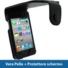 Nero Vera Pelle Custodia per Apple iPod Touch 4G 8/16/32/64GB Case Cover