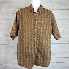 Columbia Mens Shirt Sz Large Brown Fish Print Short Sleeve Button Front