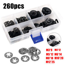 260pcs Star Nut Push on Retainer Washer Assortment Clips Fasteners Kit Lock