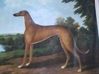 Vintage Rare Large Dog Oil Painting Greyhound Dog