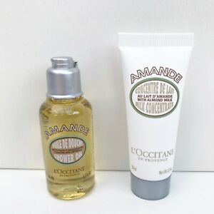 L'Occitane Amande Almond Shower Oil + Almond Milk Concentrate Travel Set, NEW